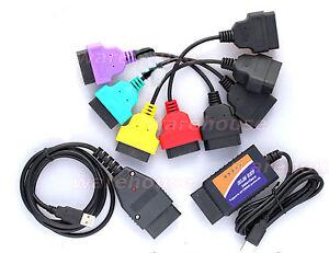 Diagnostic Cable Set Fits Fiat Alfa Lancia Cars Modified ELM KKL Adapter Cables