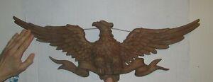 "Vintage 1971 Sexton Eagle Wall Plaque Hanging Golden Color Cast Metal 27"" Across"