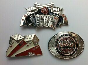 Poker Hand Dice Cards Guns Roses Belt Buckles 3 Styles Royal Flush Aces Guns New