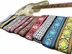New Retro Vintage Jacquard Woven Acoustic Electric Guitar Strap