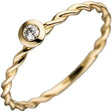 Damen Ring Gedreht 585 Gold Gelbgold 1 Diamant brillant 0 05ct. Goldring