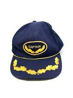 Captain Trucker Snapback Blue Mesh Hat Vintage 1990s Gold Leaf