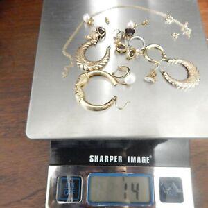 14 Grams 14k & 10k Gold Lot Scrap or Not Earrings, Chain, Pearl, Topaz,Garnet