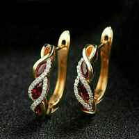 1.50Ct Marquise Cut Red Ruby Diamond Hoop/Huggie Earrings 14k Yellow Gold Finish