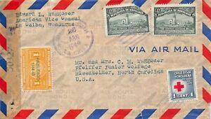 LE CEIBA HONDURAS~AMERICAN VICE CONSUL~1945 PMK-STAMPS-RED CROSS~COVER