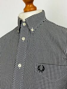 Fred Perry | Short Sleeve Button Down Collar Classic Gingham Shirt M|40 (Black)