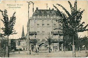 MÜLHAUSEN /Elsass /MULHOUSE Friedensplatz Markthalle junge Bäume 1917
