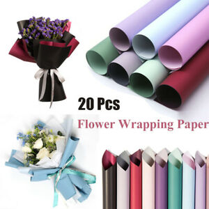 20 PCS Translucent Waterproof Paper Flower Bouquet Wrapping DIY Gift Packing