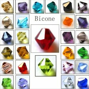 4mm 6mm 8mm Bicone Faceted Crystal Glass Loose Crafts Beads Jewelry Making DIY