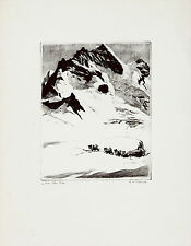 R.H. PALENSKE Vtg 1943 Mid Century TALIO-CROME Print OVER THE PASS Sled Dogs B&B