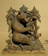"""Fine Antique 19/20th c. Black Forest Carved Wood Book Stand """"Smoking Bears"""""""