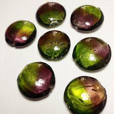 10pcs Purple & Green Silver Foil Lampwork Beads 28mm Jewellery Making G1