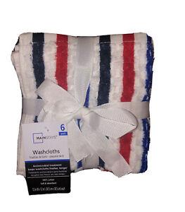 6 pk Mainstays Cotton Washcloths Set- Navy, Red, & White