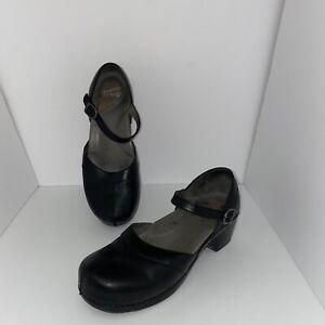 Dansko Heel Mary Jane Shoes Size 41 Black Leather Women US 10.5 -11