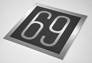 Hausnummernschild Hausnummer Alu Nr. 1-100 moderne Edelstahl optik 20 x 20 cm