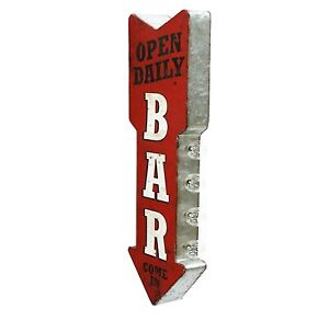 Bar Open Daily Vintage Marquee LED Lights Sign Wall Art.