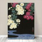 "Beautiful Japanese Floral Art ~ CANVAS PRINT 8x12"" Chrysanthemums water Koson"