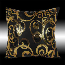 ABSTRACT SHINY GOLD BLACK SEQUINS DECO THROW PILLOW CASE CUSHION COVER 16""