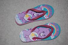 Girls Flip Flops CARE BEARS Purple Rainbow BEST FRIEND BEAR Sandals L 1-2