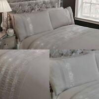 Grey Duvet Carly Cover Set Luxury Cotton Bedding Sheets Double Diamante Gem
