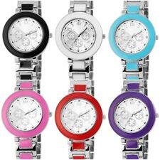 Damenuhr, Excellant, Damen, Metallband, Emaillierte Einlagen, Verschiedene Farbe