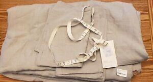Linen Tales Lt Grey Linen Queen Bed Set, Duvet, coconut buttons, 2 Pillowcases