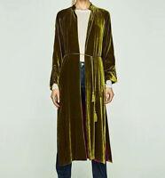 Womens Jacket Coat Long Sleeve Fashion Yellow Green Velvet Red Lining Kimono