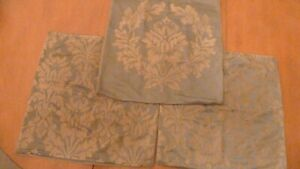 Restoration Hardware Pillow Covers (set of 3) Cotton/Silk Damask Sage/Mocha