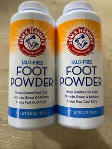 Lot of 2 Arm & Hammer Talc Free Foot Powder 5 oz NEW Sports Feet Athletic