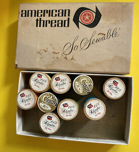 *NOS* VINTAGE-AMERICAN THREAD COMPANY-9 SPOOLS-ASSORTED COLORS-FREE SHIP*