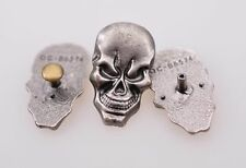 1.7X2.8CM 10pcs Rock Antique Silver Skull Studs Leathercraft Decor Saddle Concho