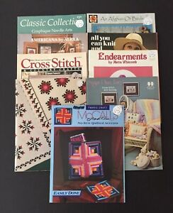 Lot of 9 Craft Booklets/Leaflets - Painting -Needlepoint-Quilting-Crochet & More