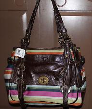 NWT COACH F12613 Legacy Wol Var Stripe Shoulder Bag Leather Pocket Tote $698