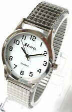 Ravel gents white face watch with silver coloured expanding strap R0201.01.1S
