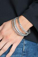 Paparazzi Jewelry Bracelet Glitzy Grunge - White~NWT -5080