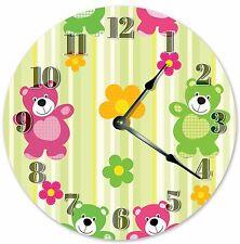 "10.5"" HAPPY BEARS NURSERY KIDS CLOCK - Large 10.5"" Wall Clock - Home Décor 3335"