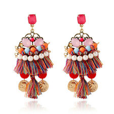 Bohemia Style Multi-Color Tassel Dangle Drop Statement Earrings Women Jewelry