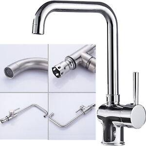 Modern Kitchen Sink Mixer Tap Brushed Steel Basin Faucet Mono Spout Swivel Taps