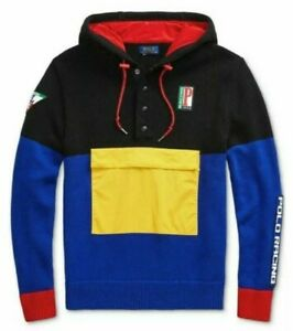 Polo Ralph Lauren Men's 1992 Racing Graphic Color Block Hooded Sweater XL