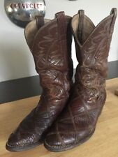 Don Quijota Real Brown Leather Cowboy Boots Men's Size 9 Stitching Embellished