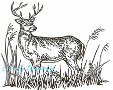 Standing Deer In Tall Grass, Wood Mounted Rubber Stamp NORTHWOODS - NEW, M600