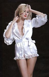 W3712 Hot Sexy Shiny White Nightgown & Thong set