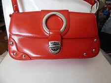 VINTAGE 1980s GUESS Red Faux Patent Leather Shoulder Bag Silvertone Stud Accents