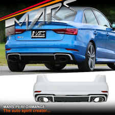 RS3 Style Rear Bumper Bar & Diffuser & Exhaust Tip for AUDI A3 S3 8V Sedan 13-19