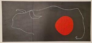 MiroBison devant le soleil 1961 Affiche Originale Abstrait Animaux Littérature