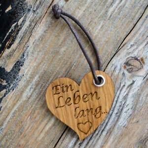 Schlüsselanhänger mit Gravur aus Holz Eiche Herz Partneranhänger individuell