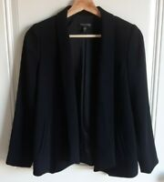 Eileen Fisher Petites Womens Black Shawl Collar Open Front Jacket Size PP READ