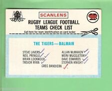 Checklist Balmain Tigers NRL & Rugby League Trading Cards