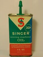 Vintage 1950s SINGER SEWING MACHINE OIL CAN METAL ADVERTISING TIN 4 OZ 30 CENT