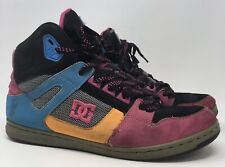 DC Footwear Rebound HI Skate Shoes Style 302164 Leather Pink Blue Womens Size 11